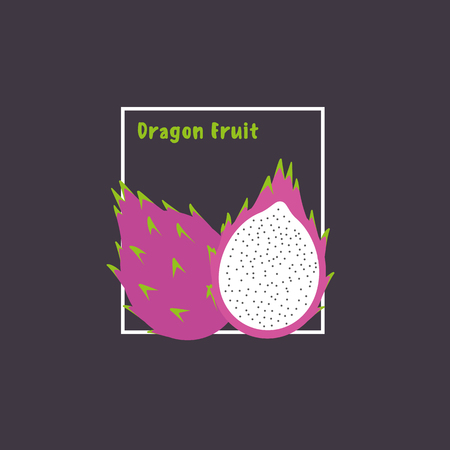 dragon fruit: Hand drawing dragon fruit with slice on dark background. Exotic tropical fruit. Flat design icon, isolated object. Vector illustration.
