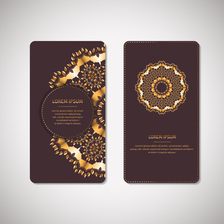 arabic gold: Set of two ornamental gold cards, flyers with flower oriental mandala on dark vinous background. Ethnic vintage pattern. Indian, asian, arabic, islamic, ottoman motif. Vector illustration. Illustration