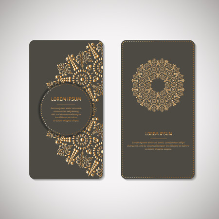 indian mustard: Set of two ornamental gold cards, flyers with flower oriental mandala on pale mustard color background. Ethnic vintage pattern. Indian, asian, arabic, islamic, ottoman motif. Vector illustration.