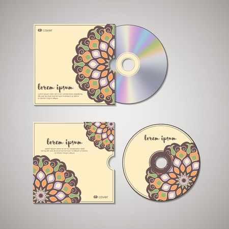 cd cover: CD cover design template with floral mandala style. Arabic, indian, pakistan, asian motif. Vector illustration under clipping mask.