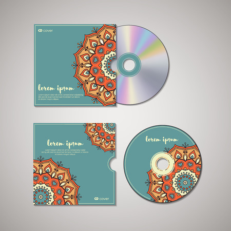 magical equipment: CD cover design template with floral mandala style. Arabic, indian, pakistan, asian motif. Vector illustration under clipping mask.