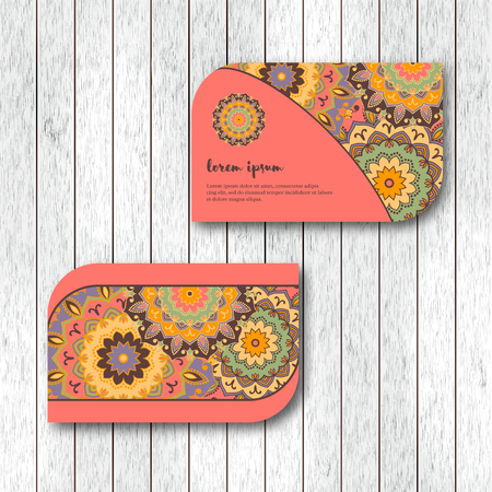 identification card: Set of two ornamental floral mandala cards, visiting template, pink color. Vintage decorative elements. Indian, asian, arabic, islamic, ottoman motif. Vector illustration.