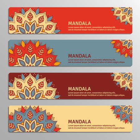 vinous: Colorful set of ornamental banners with flower mandala in red, beige, blue, vinous colors. Vintage decorative elements. Vector illustration.