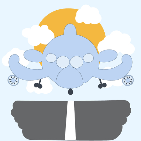 plane landing: Cartoon plane landing with clouds and sun. Cute, toy airplane design. Vector illustration.
