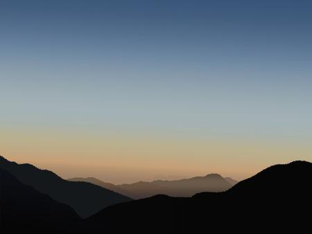Sunrise in Himalayas. Vector illustration.