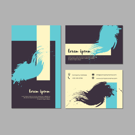 placards: Set of grunge business cards with geometric shapes and hand drawn textures.  Template for brochures, posters, flyers, placards, and banners. Pastel turquoise, black, white colors. Vector illustration. Illustration