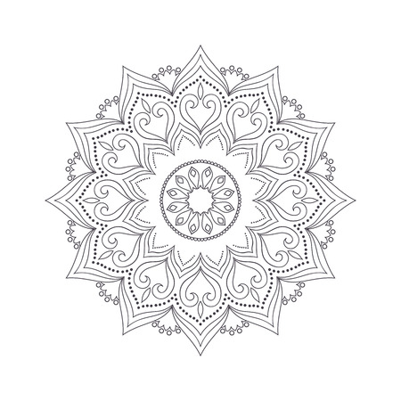 flower ornament: Hand drawn flower mandala for coloring book. Black and white ethnic henna pattern. Indian, asian, arabic, islamic, ottoman, moroccan motif. Vector illustration. Illustration