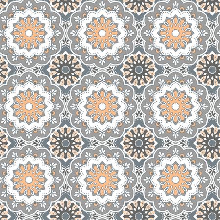 Naadloos hand getrokken mandalapatroon. Vintage decoratieve elementen. Grijze, oranje, witte kleur toon achtergrond. Islam, Arabisch, Indiaas, Turks, Ottomaanse motieven. Perfect voor het afdrukken op stof of papier. Vector