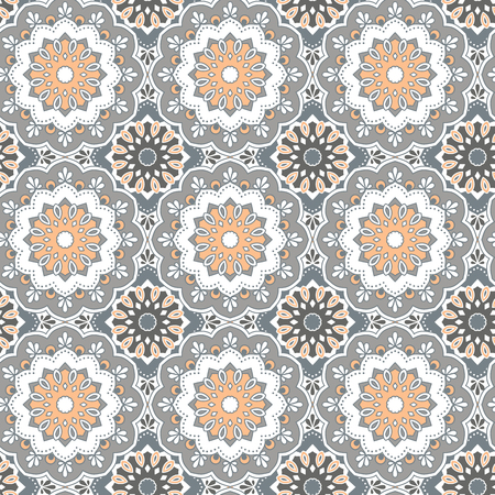 Seamless hand drawn mandala pattern. Vintage decorative elements.Grey, orange, white color tone background.Islam, Arabic, Indian, turkish,ottoman motifs.Perfect for printing on fabric or paper. Vector Imagens - 58511571