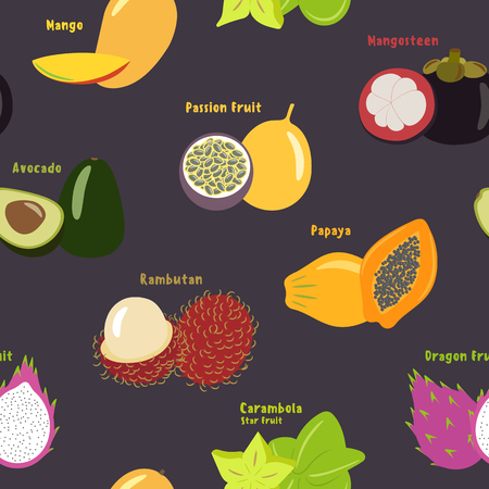 Seamless pattern of exotic tropical fruits on a violet color background, flat design, for printing on fabric or paper. Vector illustration.