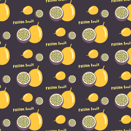 Passion fruit or maracuya seamless repeating pattern, flat design. Exotic tropical fruit. For printing on fabric or paper. Vector illustration.