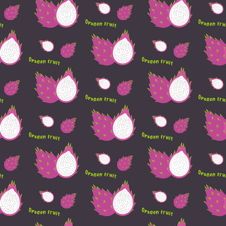 exotic fruit: Dragon fruit seamless repeating pattern, hand drawn style. Exotic tropical fruit. For printing on fabric or paper. Vector illustration.