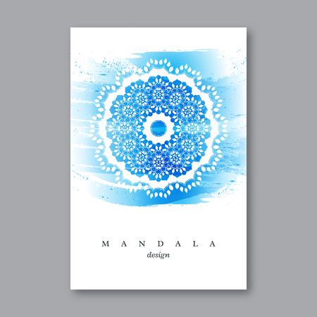 초대, 손으로 그린 만다라, 수채화 배경 결혼식 카드 템플릿입니다. 오리엔탈 스타일에서 빈티지 장식 요소입니다. 인도, 아시아, 아랍어, 이슬람,