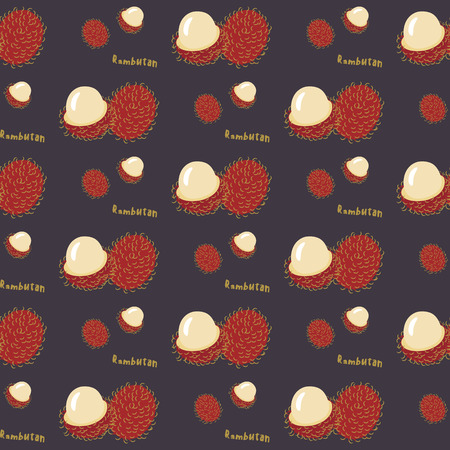 rambutan: Seamless pattern of exotic tropical fruit rambutan on a violet background, flat style. For printing on fabric or paper. Vector illustration.