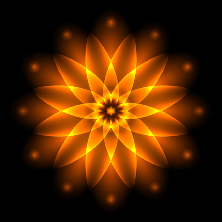 blurry: Abstract glowing light flower, symbol of life and energy, fire fractal. Vector illustration. Illustration
