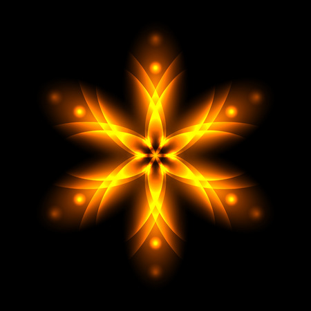 Abstract glowing light flower, symbol of life and energy, fire fractal. Vector illustration. Stock Vector - 60112268