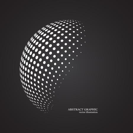 추상 세계 점선 구, 3D 하프 톤 도트 효과. 화이트 색상, 검은 배경. 벡터 일러스트 레이 션.