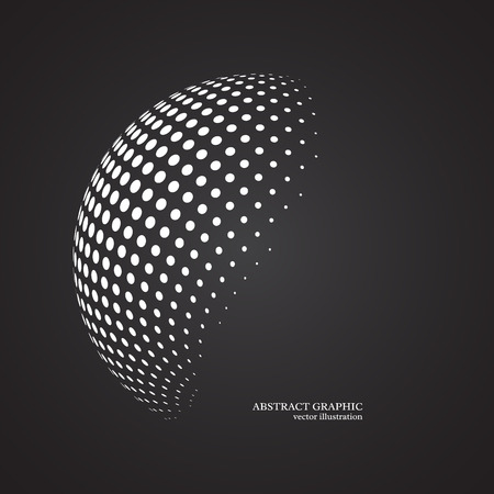 Abstract globe dotted sphere, 3d halftone dot effect. White color, black background. Vector illustration.