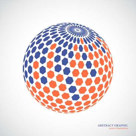 blue sphere: Abstract globe sphere, 3d hexagon effect. Red, blue colors, white background. Vector illustration.