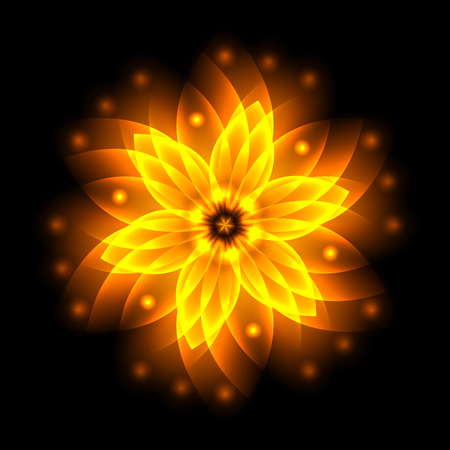 abstract fire: Abstract glowing light flower, symbol of life and energy, fire fractal. Vector illustration. Illustration