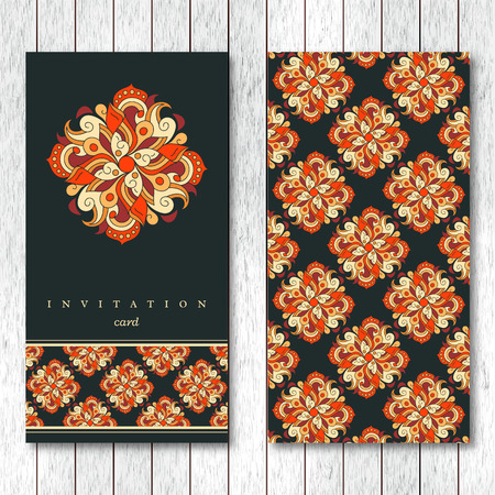 Template of greeting, invitation card or brochure with hand drawn abstract elements. Vintage oriental style. Illustration