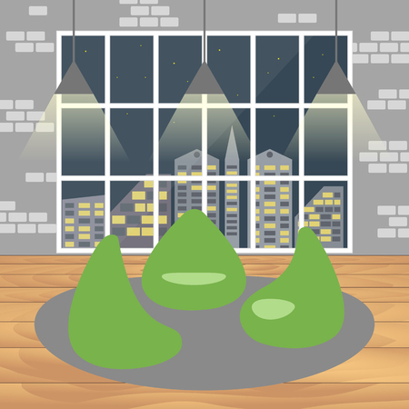 co: Bean bag chair with city view from window. Good idea for office workplace interior, co working freelance center. Open space. Flat concept vector illustration.