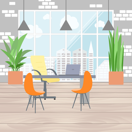 megapolis: Boss office interior in flat design, view from the window on megapolis. Flat business concept vector illustration. Illustration