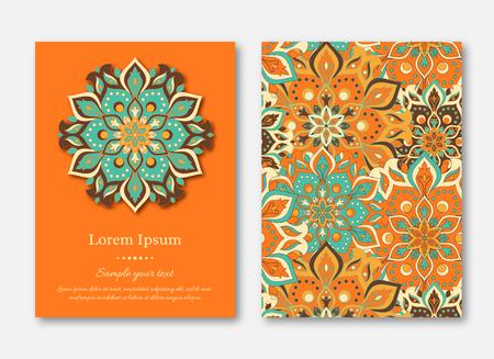 카드, 전단지, 브로셔, 템플릿 손으로 그려진 된 만다라 패턴의 집합입니다. 빈티지 오리엔탈 스타일입니다. 인도, 아시아, 아랍어, 이슬람, 오토만 주