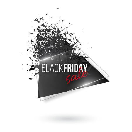 Black friday abstract explosion banner. Glowing glass with text and black color debris, white background.  illustration. Illustration