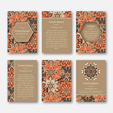 Set of cards, flyers, brochures, templates with hand drawn mandala pattern. Vintage oriental style. Indian, asian, arabic, islamic, ottoman motif. Vector illustration. Stock Illustratie