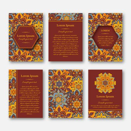 Set of cards, flyers, brochures, templates with hand drawn mandala pattern. Vintage oriental style. Indian, asian, arabic, islamic, ottoman motif. Vector illustration. Illustration