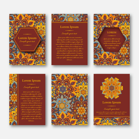 Set of cards, flyers, brochures, templates with hand drawn mandala pattern. Vintage oriental style. Indian, asian, arabic, islamic, ottoman motif. Vector illustration. Çizim