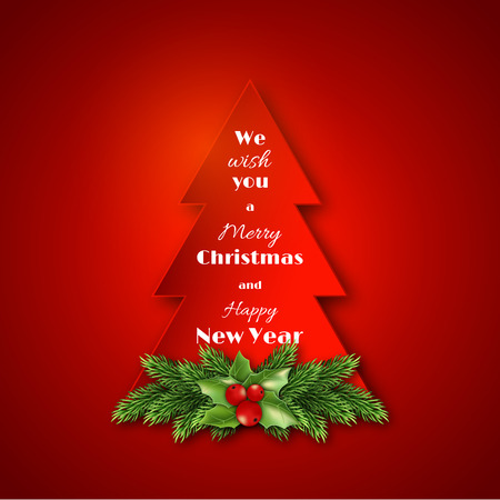 holly day: Paper fir-tree with Christmas decorative fir branches and holly. Merry Christmas and Happy New Year text. Red  background. Vector illustration