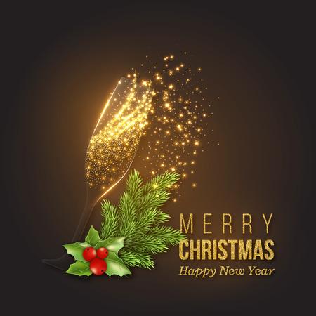샴페인 시작, 투명 한 유리, 빛나는 조명과 함께 크리스마스 황금 장식. 크리스마스와 새 해 전나무 분기입니다. 벡터 일러스트 레이 션.