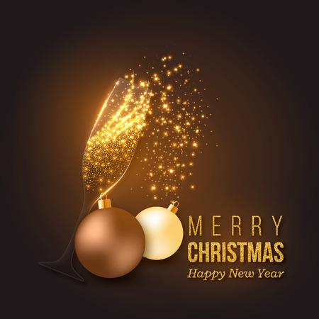 크리스마스 황금 장식 샴페인 스플래시, 투명 한 유리, 빛나는 조명 및 bauble. 벡터 일러스트 레이 션. 일러스트