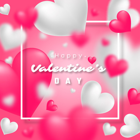 affection: Realistic floating 3D Valentine blur hearts card. Illustration