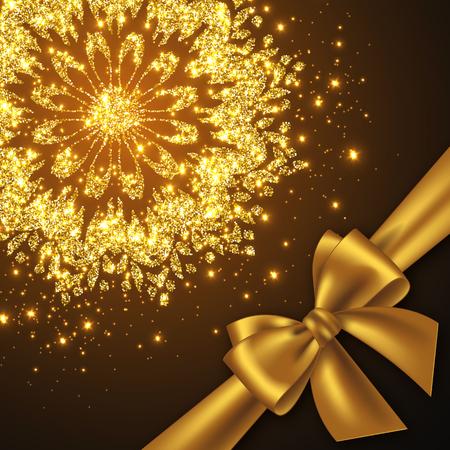Design de carte Glitter pour un accueil ou une invitation. Archet en or réaliste, mandala décoratif avec des feux éclatants. Illustration vectorielle.