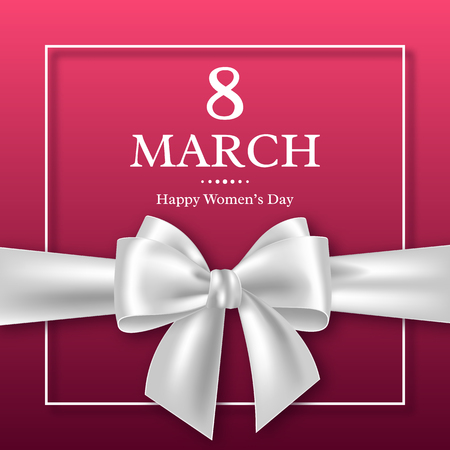 March 8 greeting card for International Womans Day. Vector illustration.