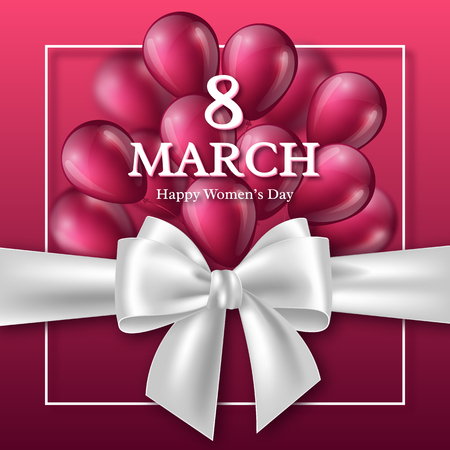 March 8 greeting card for International Womans Day. Realistic bow with balloons. Vector illustration.