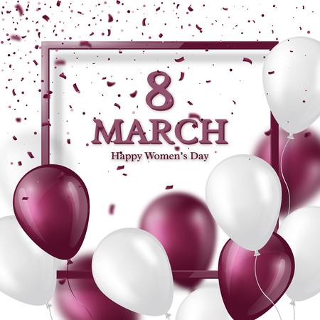 8 de marzo tarjeta de felicitación para el Día Internacional de la Mujer. Marco de cristal realista con globos y confeti. Ilustración vectorial Foto de archivo - 71544519