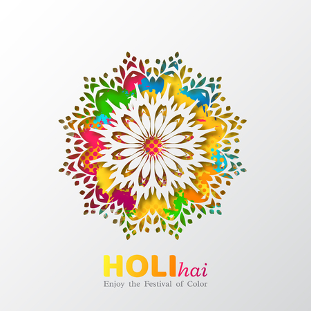 Holi holiday design with colorful watercolor splash and mandala. Vector illustration. Illustration