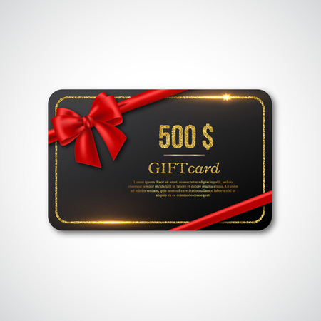 Gift card design with realistic red bow and golden glitter frame. 500 $ voucher, certificate for shopping. Vector illustration.