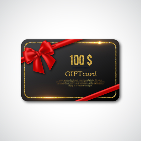 Gift card design with realistic red bow and golden glitter frame. 100 $ voucher, certificate for shopping. Vector illustration. Ilustracja