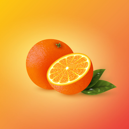 Realistic half cut and whole orange with leaves. Yellow-red background. Vector illustration. Illustration