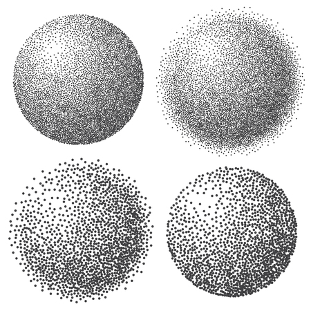 Abstract dotted sphere, 3d halftone dot effect. White color, black background. Vector illustration. Vetores