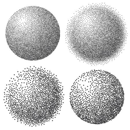 Sfera punteggiata astratta, effetto punto mezzatinta 3d. Colore bianco, sfondo nero. Illustrazione vettoriale Vettoriali