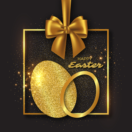 golden ribbon: Easter holiday design. Abstract glitter eggs with golden frame and realistic bow, black background. Vector illustration.