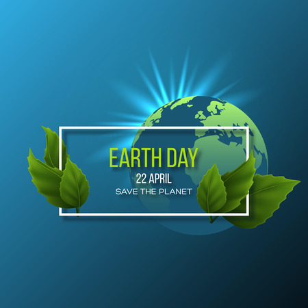 Earth Day design. Green globe planet with glowing sun rays and leaves. Save environment green concept. Vector illustration.