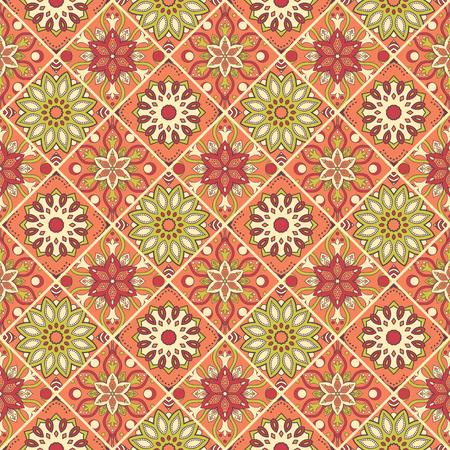 シームレスな手描き曼荼羅パターン。オリエンタル スタイルのヴィンテージの要素。壁紙、背景とページ入力のためのテクスチャです。イスラム教  イラスト・ベクター素材