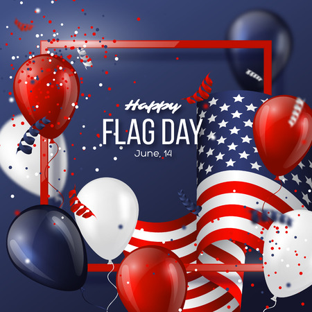 USA flag day holiday design with flag, balloons and confetti in national colors. Celebration dark blue background. Vector illustration. Illustration